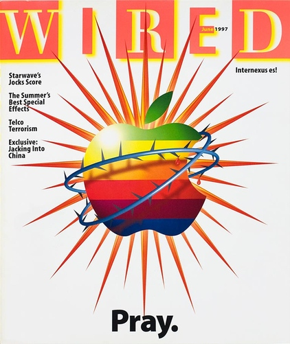 Wired magazine cover, June 1997. Apple logo encircled with thorns and the text
